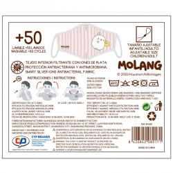 Kit mascarilla + Gel hidroalcoholico 100ml Rayas Molang