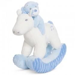 Peluche Balancin Oso caballo Aurora Baby azul 28cm