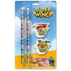 Blister 2 lapices 2 gomas Super Wings