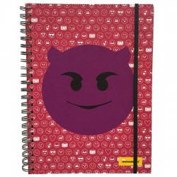 Cuaderno A4 Emoticonworld emoticonos mosaico rosa banda elastica