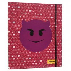 Carpeta A4 anillas Emoticonworld mosaico banda elastica rosa