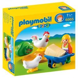 Granjera con Gallinas Playmobil 1.2.3