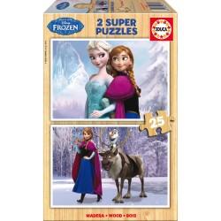 Puzzle Frozen Disney madera 2x25