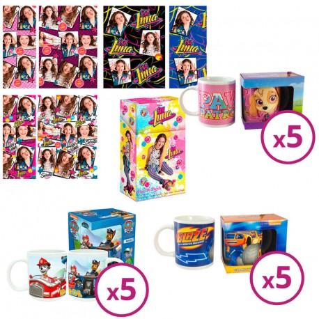 Pack oferta 75 rollos papel regalo Soy Luna + 5 tazas Skye + 5 tazas Blaze + 5 tazas Paw Patrol
