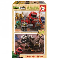 Puzzle Dinotrux madera 2x50pz