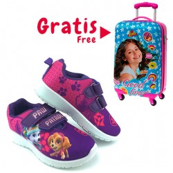 Pack oferta caja 16 zapatillas Paw Patrol + Maleta ABS Soy Luna 55cm GRATIS