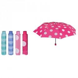 Paraguas plegable manual rayas puntos 54cm surtido