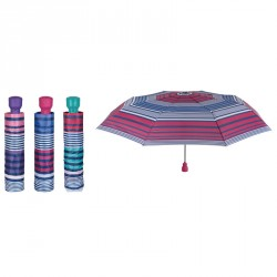 Paraguas plegable automatico rayas 54cm surtido