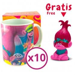 Pack oferta 10 tazas Trolls + figura Poppy con luz GRATIS