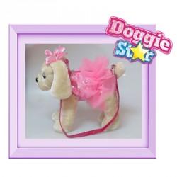 Bolso peluche Golden Doggie Star rosa