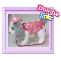 Bolso peluche Mastin Doggie Star rosa