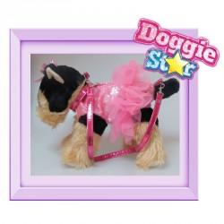 Bolso peluche Yorkshire Doggie Star rosa