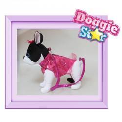 Bolso peluche Bulldog Frances Doggie Star fucsia