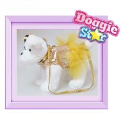 Bolso peluche Terrier negro y blanco Doggie Star dorado
