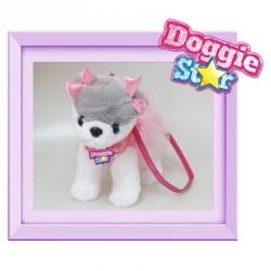 Bolso peluche Husky Doggie Star rosa