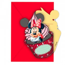 Pack 6 invitaciones fiesta Minnie Disney Cafe