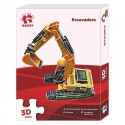 Puzzle 3D Baggy Excavadora amarilla grande 84pz