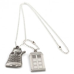 Colgante placas identificacion Tardis and Dalek Doctor Who