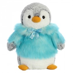 Peluche Pinguino Pompon turquesa soft 28cm