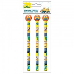 Blister 3 lapices Minions goma