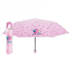 Paraguas plegable manual unicornio rosa 50cm