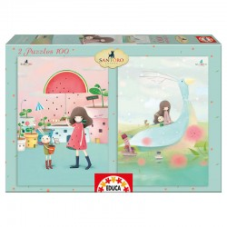Puzzles Kori Kumi Melon shower House boats 2x100pz